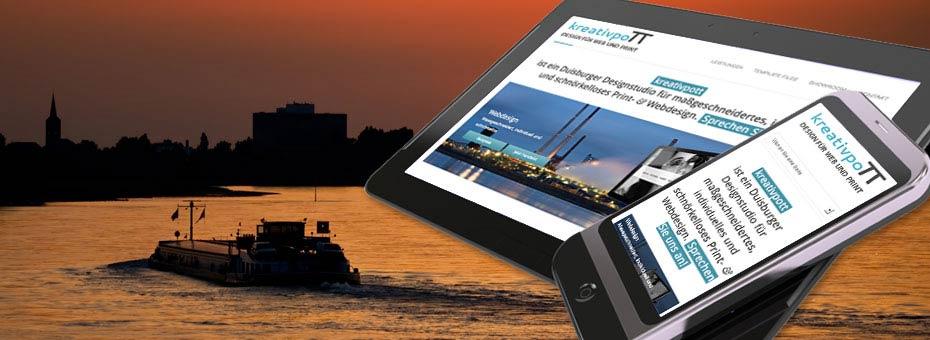 Ein Beispiel für die unterschiedliche Darstellung einer Website auf Tablet und Smartphone