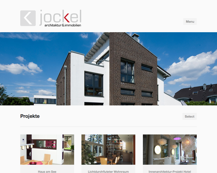 Screenshot der Website Jockel Architektur & Immobilien, responsives Design für alle Ausgabegeräte