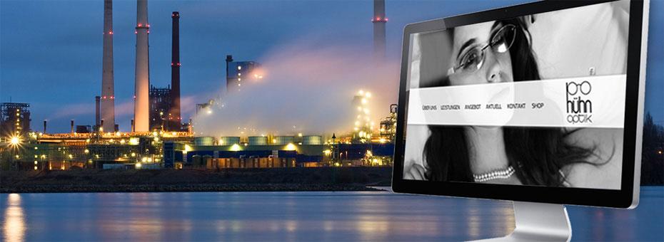 Industrielandschaft im Ruhrgebiet als Hintergrund für ein Beispiel exzellenten Webdesigns von Kreativpott in Duisburg