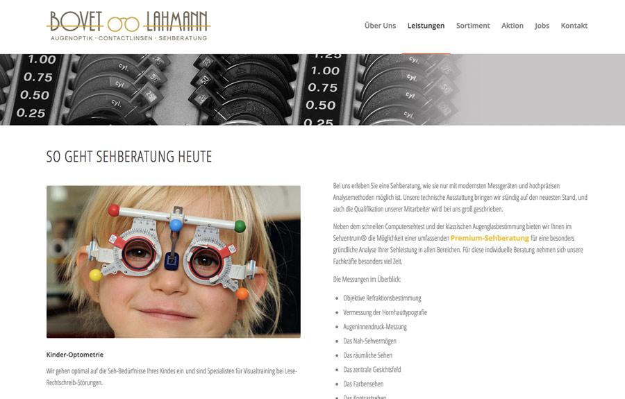 Internetgestaltung für einen Augenoptiker